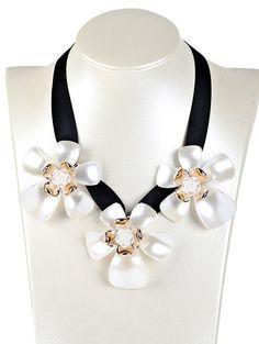 Floral Faux Gem Necklace #shoes, #jewelry, #women, #men, #hats, #watches, #belts