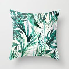 Throw Pillow featuring Green Tropical Paradise  by Nikkistrange