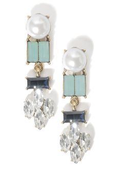 South Moon Under Pearl & Jewel Linear Statement Earrings in BLUE