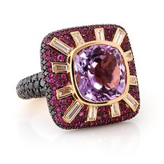 18K AMETHYST PINK SAPPHIRE & DIAMOND SQUARE COCKTAIL RING