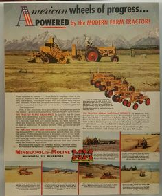 Add from progressive farmer for minneapolis moline Vintage Tractors, Vintage Farm, Agriculture, Farming, Minneapolis Moline, Classic Tractor, Ford Tractors, Old Signs, History Photos