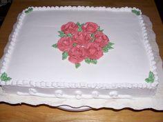 Simple Rose Sheet Cake