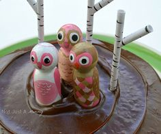 peg doll painted owl cake toppers