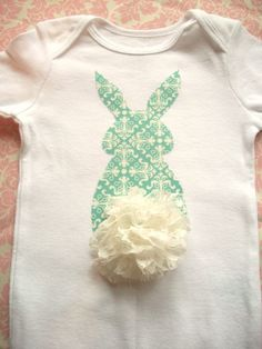 Easter Onesie or Shirt -Bunny Butt - Turquoise with Lace Tail- Spring and Easter. $18.00, via Etsy.