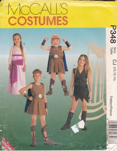 Free Us Ship Sewing Pattern McCalls 348 9001 Roman Soldier Gladiator Princess Girl Boy  Costume  Size  10 12 14 Uncut ff by LanetzLiving on Etsy