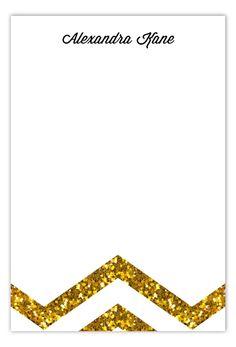 Gold Glitter Chevron Flat Note Card