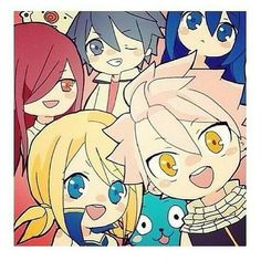 Fairy tail  Erza Grey Wendy Lucy Natsu Happy and Plue