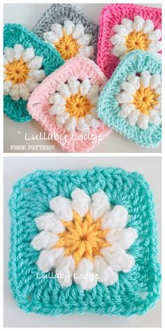 I found for you today some amazing squares of different colors. These are squares with a sweet daisy motif. This is a very friendly pattern and it is very nice to crochet it. Crochet Sunflower, Crochet Daisy, Crochet Quilt, Crochet Squares, Crochet Yarn, Crochet Flowers, Crochet Granny, Granny Square Pattern Free, Heart Granny Square