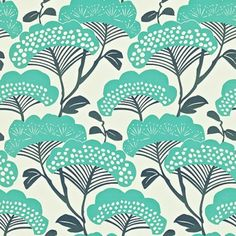 Tree Tops (212838) - Sanderson Wallpapers - A boldly coloured graphic tree design with a Japanese feel creating a vibrant and contemporary look shown in teal and ivory. This is a paste the wall product. Please request a sample for true colour match.