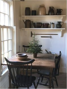 this vibe/ coloring for dining nook Farmhouse Kitchen Interior, White Kitchen Decor, Cottage Kitchens, Country Kitchen, Home Kitchens, Kitchen Modern, Kitchen Ideas, Colonial Kitchen, Country Farmhouse