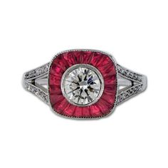 Vintage Inspired Ring in Ruby or Sapphire & Diamond  18k white gold ring featuring french cut rubies or sapphires and diamond accents