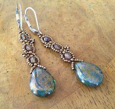 Czech long green bead earrings, czech earrings, long earrings, green earrings, beaded earrings, green bead earrings, green czech earring EBW