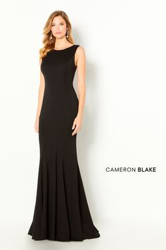 Cameron Blake Style #220635. Description: Sleeveless heavy stretch jersey fit and flare gown with a jewel neckline, v-back with covered buttons going down to the train, and a sweep train. Shawl Included. Details: Fabric: Stretch jersey;Length: Long;Neckline: Jewel;Silhouette: Fit and Flare;Sleeve Type: Sleeveless;Special Features: Shawl Included;Waistline: Natural Wedding Dress For Short Women, Summer Mother Of The Bride Dresses, Mothers Dresses, Special Dresses, Special Occasion Dresses, Cameron Blake, Womens Dress Suits, Dress Collection, Bridal Collection
