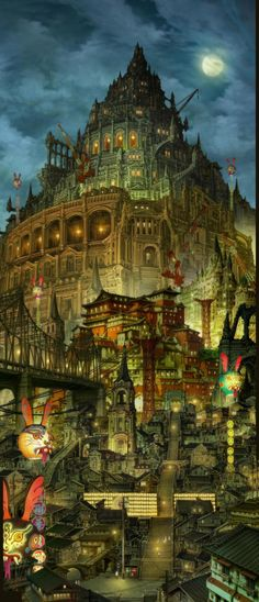 City skyline from 'Blue Exorcist: The Movie' (2012).