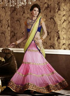 Pink & Green Net , Satin Party Wear Saree