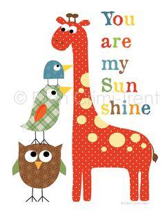 Kids Nursery decor-colorful giraffe and birds for boys via Etsy
