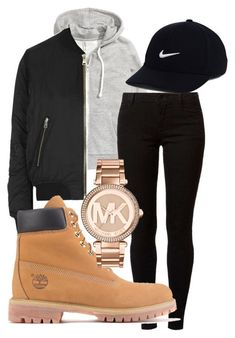 """""""falls"""" by rabiamiah on Polyvore featuring H&M, Topshop, Dorothy Perkins, Timberland, NIKE and Michael Kors #timberlandoutfits"""