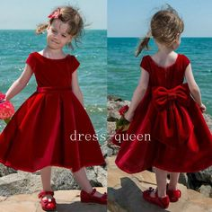 Cute Red Velvet Flower Girl Dress 2017 Tea Length Baby Girl Pageant Dresses Toddler Kids Party Dress Short Communion Gowns With Big Bow… (With images) Toddler Flower Girl Dresses, Dresses Kids Girl, Toddler Dress, Baby Dress, Flower Girls, Girls Pageant Dresses, Girls Party Dress, Dress Party, Latest Dress For Girls