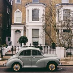 Victorian House and Morris Minor Car, London.