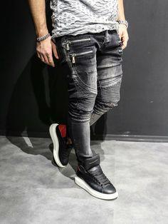 Men Slim Fit Ripped Motor Biker Zippers Jeans Washed Black is part of Denim jeans men - Elastan Zipper Fly SLIM FIT Ripped Jeans Men, Biker Jeans, Outfit Man, Swagg, Denim Fashion, Mini Bars, Fitness Men, Bigger Thighs, Urban Gear