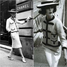 1920 lopulla tuli myös jakkupuku Chanelin mallistoihin. Myös Tweed Suit on käytössä monella naisella vielä tänä päivänä -Chanel tweed suit-