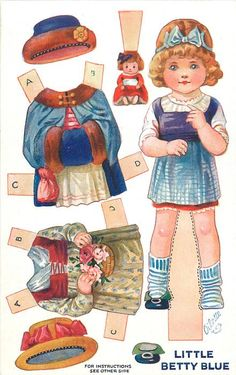 LITTLE BETTY BLUE (Nursery Rhyme Dressing Dolls, Series III / Raphael Tuck & Sons) Artist A.L. Bowley (unsigned, attributed to P. Cope) Oilette, Printed in England, © London, Paper Cut-outs