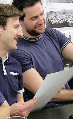 Hobbit Rehearsals - Adam Brown and Richard Armitage  (Ori and Thorin!)