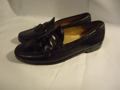 VINTAGE Allen Edmonds USA Men's Tasseled Loafers Shoes Black Cushion Insole-9 C #AllenEdmonds #Oxfords
