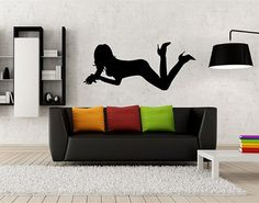 kik2217 Wall Decal Sticker silhouette sexy girl living room bedroom