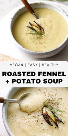 [original_tittle] – THE SIMPLE VEGANISTA [pin_tittle] Roasted Fennel & Potato Soup recipe features wonderful roasted fennel and potatoes pureed into a delicious creamy soup! Healthy, vegan and gluten free. Fennel Recipes, Soup Recipes, Whole Food Recipes, Vegan Recipes, Cooking Recipes, Vegan Food, Pureed Recipes, Simple Recipes, Vegetarian Recipes
