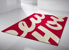 I think being a Type Hunter earns me a right to this hand-crafted typographic rug by Linus Dean. Modern Rugs, Modern Art, Contemporary Art, Typography, Lettering, Antique Shops, My Living Room, Handmade Rugs, Interior Inspiration
