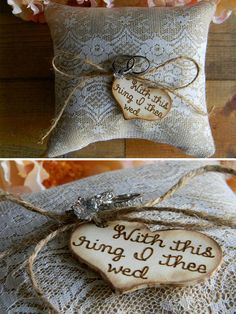 Burlap & Lace Ring Bearer Pillow Personalized Wood Heart With This Ring I Thee Wed Rustic Woodland Shabby Chic