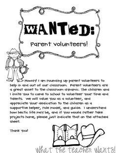 Parent Volunteer - I love how she organizes them! Great way to get parents involved regularly!