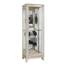 Shop Madison Traditional Silver Wood Glass Curio with great price, The Classy Home Furniture has the best selection of to choose from Pulaski Furniture, Furniture Decor, Living Room Furniture, Living Room Cabinets, Mirror Panels, Wood Glass, Cincinnati, Kitchen Redo, Bathroom Medicine Cabinet