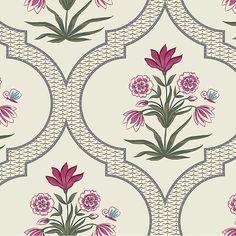 Samarqand Designer Wallpaper from Nilaya by Asian Paints Arabesque, Floral Motif, Floral Prints, Floral Artwork, Modern Wallpaper Designs, Designer Wallpaper, Buy Wallpaper Online, Asian Paints, Textile Pattern Design