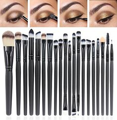 CINEEN Make-up Pinsel 20 Stück Kosmetikpinsel bilden Puder Augenbrauen Lidschatten Lidstrich Zwei köpfigen Lippenpinsel Make-up notwendigen Werkzeuge
