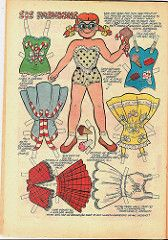 Bill Woggon's Sis paper doll, from the Katy Keene comic series, Marvel Comics - Katy Keene's kid sister = little girl with glasses