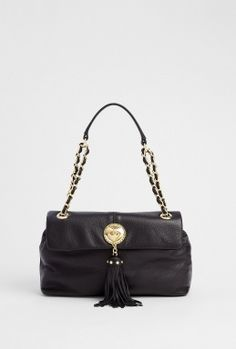 Black Leather Bag With Tassel Detail by Love Moschino