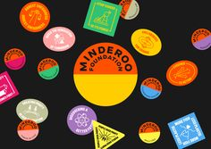 minderoo_foundation_logo_and_badges. Foundation Logo, Circular Logo, Type Treatments, Graphic Design Branding, Identity Design, Abstract Shapes, Muted Colors, Graphic Design Inspiration, Creative Inspiration