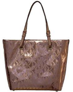 Michael Kors Logo Mirror Metallic Grab Bag Shoulder Tote Handbag Purse - Cocoa,$225.00