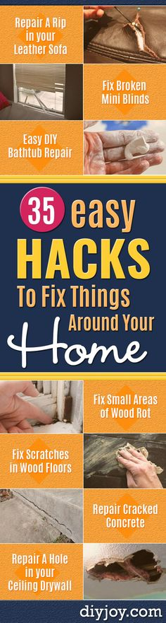 Easy Home Repair Hacks - Quick Ways to Easily Fix Broken Things Around The House - DIY Tricks for Home Improvement and Repairs - Simple Solutions for Kitchen, Bath, Garage and Yard - Caulk, Grout, Wall Repair and Wood Patching and Staining Bathtub Repair, Diy Bathtub, Bathroom Repair, Diy Hacks, Repair Cracked Concrete, Wood Floor Repair, Diy Blanket Ladder, Home Fix, Budget