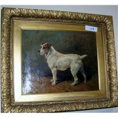 John . Emms (1843-1912) A Jack Russell Terrier. Antique Oil on Canvas went for $2,600 plus $450 buyer's premium!