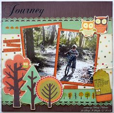 Layout with Kaisercraft Tiny Woods, created by Hilary Nicholas Scrapbook Layout Sketches, My Scrapbook, Scrapbooking Ideas, Fall Halloween, Card Making, Paper Crafts, Seasons, Christmas Ornaments, My Favorite Things