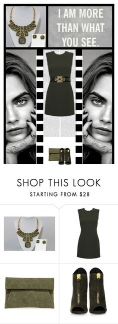 """""""Jennifer Nelson Boutique (17"""" by irresistible-livingdeadgirl ❤ liked on Polyvore featuring Versace, LULUS, Giuseppe Zanotti, Biba, GREEN, versace, CaraDelevingne and necklace"""