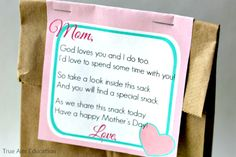Mother's Day Snack Free Printable - made these for the kids to decorate the bags for their moms. So fun!