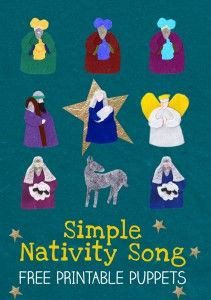 Simple Nativity Song for kids, perfect to accompany a puppet show. The post includes free printable puppets so kids can act out the Christmas Nativity Story. Christmas Songs For Kids, Christmas Program, Christmas Concert, Christmas Music, A Christmas Story, Christmas Themes, Christmas Nativity, Christmas Plays, Kindergarten Christmas