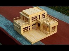 How to Make a Modern Popsicle Sticks House - Popsicle Stick Crafts House Popsicle Stick Crafts House, Popsicle Crafts, Popsicle Sticks, Craft Stick Crafts, Resin Crafts, Craft Sticks, Garden Villa, Miniature Houses, Arts And Crafts Supplies