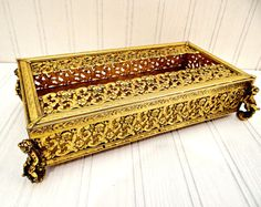 Vintage Gold Filigree Ornate Footed Tissue Box Holder w/Cherub Feet by…