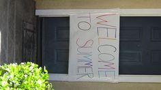 Every year, on the last day of school, I make a Welcome To Summer banner.  I tape it over the doorway, and my son gets to crash through it when he gets home from school. Waiting on the other side is a pail filled with lots of fun summertime toys, and the start of Summer vacation!  It's become a tradition he (and now his 2 brothers) look forward to!