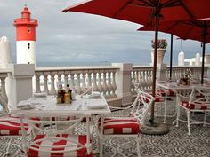 uMhlanga Lighthouse - seen from the Oyster Box Hotel Oysters, Lighthouse, South Africa, Patio, Table Decorations, Cool Stuff, City, Box, Places